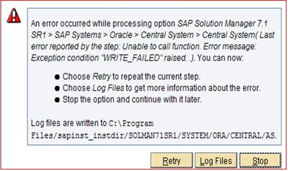 The step runRADDBDIF with step key Error was executed with status ERROR